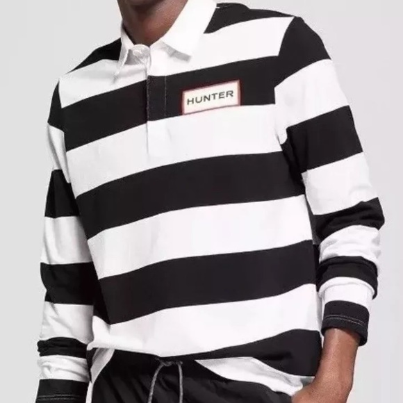 Hunter For Target Mens/' Striped Polo Rugby Long Sleeve Shirt White Black MEDIUM